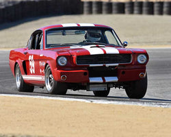Lindsay Ross with 1966 Shelby GT350 in Group 1A - Pre 1940 Sports Racing and Touring Cars at the 2015-Rolex Monterey Motorsport Reunion, Mazda Raceway Laguna Seca