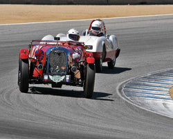 Dennis Glavis with 1953 Morgan Plus 4 TT in Group 2B - 1947-1955 Sports Racing and GT Cars at the 2015-Rolex Monterey Motorsport Reunion, Mazda Raceway Laguna Seca