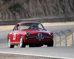 Glen Oliveria driving his Alfa Romeo Giulietta Sprint in Group 1 at the 2015 HMSA Spring Club Event at Mazda Raceway Laguna Seca