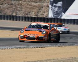 Colin Thompson with 2015 Porsche GT3 Cup in Group 7 - Porsche GT3 Cup at the 2015 Rennsport Reunion V, Mazda Raceway Laguna Seca