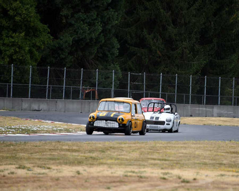 Donald Racine with 1961 Mini Cooper S in Group 1 - Small Bore Production Cars at the 2015 Portland Vintage Racing Festival at Portland International Raceway