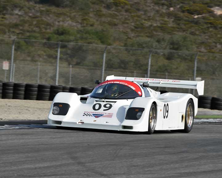 Patrick Long with Porsche 962 in Group 6 - Stuttgart Cup at the 2015 Rennsport Reunion V, Mazda Raceway Laguna Seca
