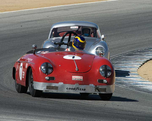 Ernest Nagamatsu with 1958 Porsche 356 Speedster in Group 2 - Gmund Cup at the 2015 Rennsport Reunion V, Mazda Raceway Laguna Seca