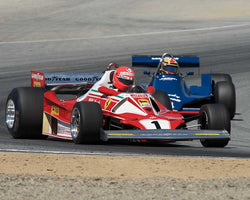 Chris MacAllister with 1976 Ferrari 312 T2 in Group 8A - 1967-1984 Formula One Cars at the 2015-Rolex Monterey Motorsport Reunion, Mazda Raceway Laguna Seca
