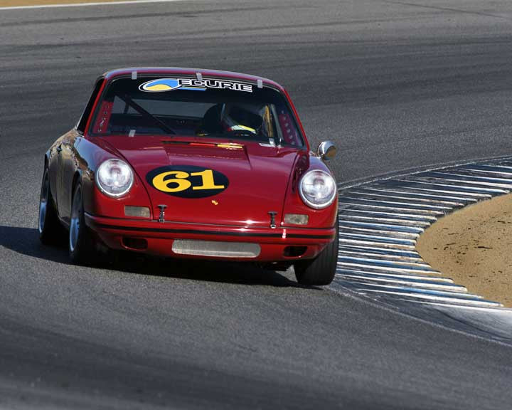 Fritz Seidel with 1967 Porsche 911S in Group 3 - Eifel Trophy at the 2015 Rennsport Reunion V, Mazda Raceway Laguna Seca