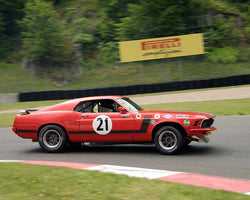 Guy Desjardins with 1970 Ford Mustang in Group 2 at the 2015 Sommet des Legendes at Mt Tremblant