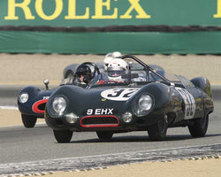 Stan Anderes with 1956 Lotus Eleven Le Mans in Group 3B - 1955-1961 Sports Racing Cars under 2000cc at the 2015-Rolex Monterey Motorsport Reunion, Mazda Raceway Laguna Seca