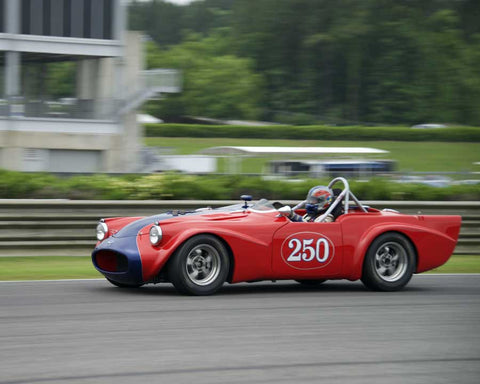 Larry Ligas with 1961 Daimler SP250 in Group 2  at the 2015 HMSA Barber Historics