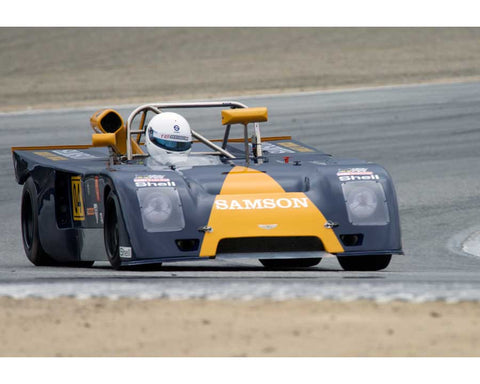 Jim Bouzaglou driving his Chevron B23 in Group 5 at the 2015 HMSA Spring Club Event at Mazda Raceway Laguna Seca