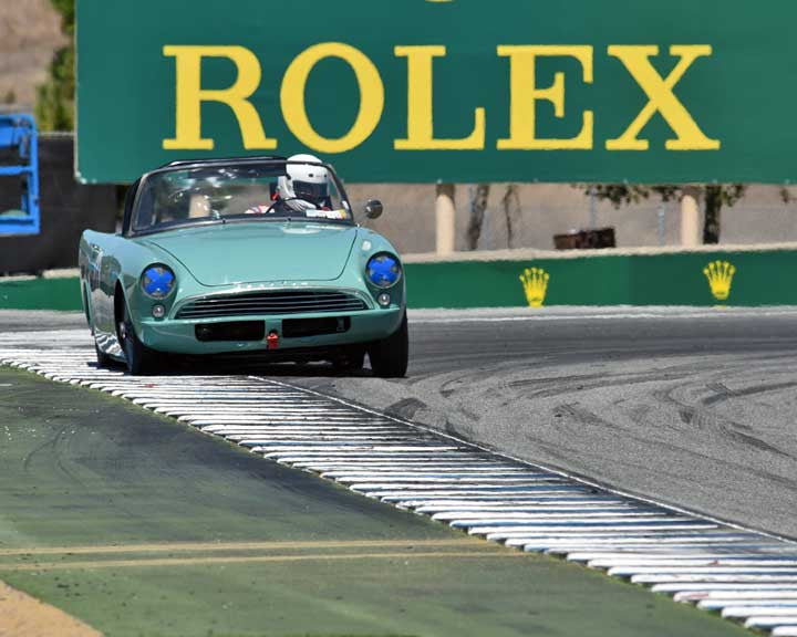Rob Fisher with 1961 Sunbeam Alpine in Group 2A - 1955-1962 GT Cars at the 2015-Rolex Monterey Motorsport Reunion, Mazda Raceway Laguna Seca