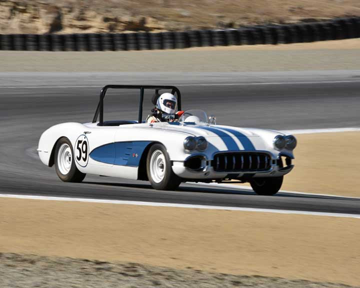 Ron Cressey with 1959 Chevrolet Corvette in Group 2A - 1955-1962 GT Cars at the 2015-Rolex Monterey Motorsport Reunion, Mazda Raceway Laguna Seca