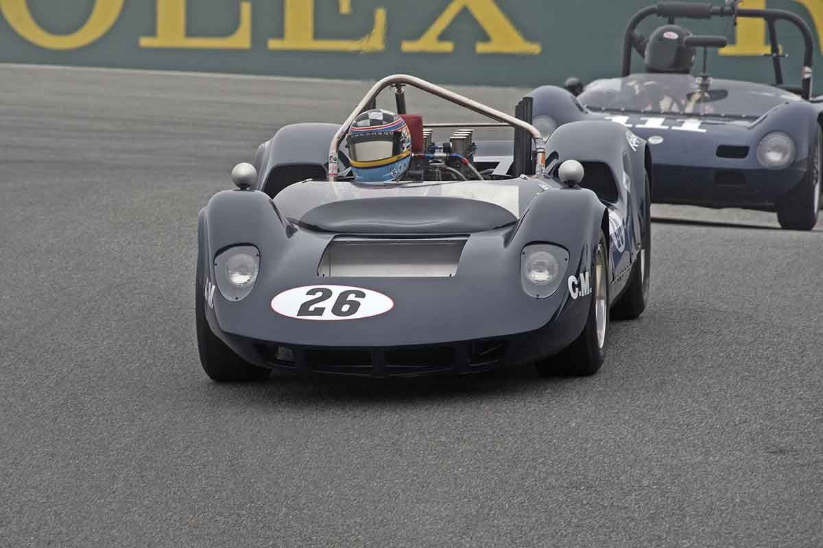 Edith Arrowsmith - 1965 McLaren - Elva Mk1A in Group 5A  at the 2016 Rolex Monterey Motorsport Reunion - Mazda Raceway Laguna Seca