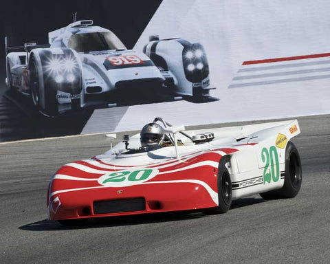 Cameron Healy with 1970 Porsche 908/3 in Group 4 - Weissach Cup at the 2015 Rennsport Reunion V, Mazda Raceway Laguna Seca