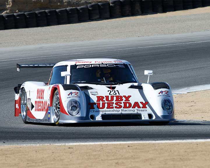 Ernie Spada Jr. with 2008 Riley Porsche Daytona Prototype in Group 6 - Stuttgart Cup at the 2015 Rennsport Reunion V, Mazda Raceway Laguna Seca