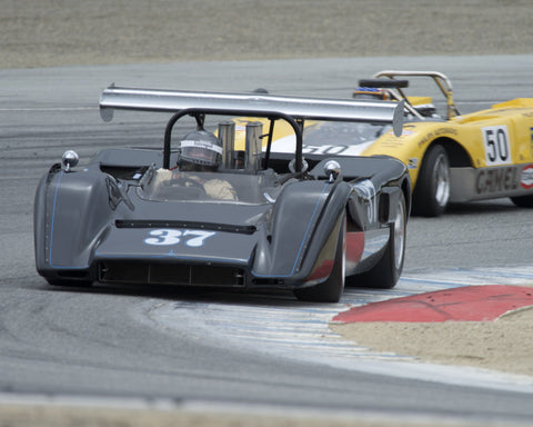Nick Colonna driving his McLaren M8C in Group 5 at the 2015 HMSA Spring Club Event at Mazda Raceway Laguna Seca