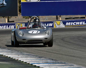 Lawrence Bowman with 1960 Porsche RS60 in Group 2 - Gmund Cup at the 2015 Rennsport Reunion V, Mazda Raceway Laguna Seca