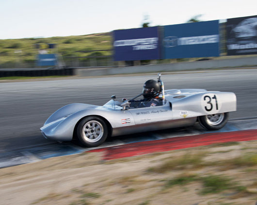 David Martin with 1962 Huffaker Genie Mk V at the 2016 HMSA LSR Invitational I at Mazda Raceway Laguna Seca