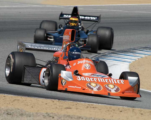 Steve Cook with 1974 March 741 in Group 8A - 1967-1984 Formula One Cars at the 2015-Rolex Monterey Motorsport Reunion, Mazda Raceway Laguna Seca