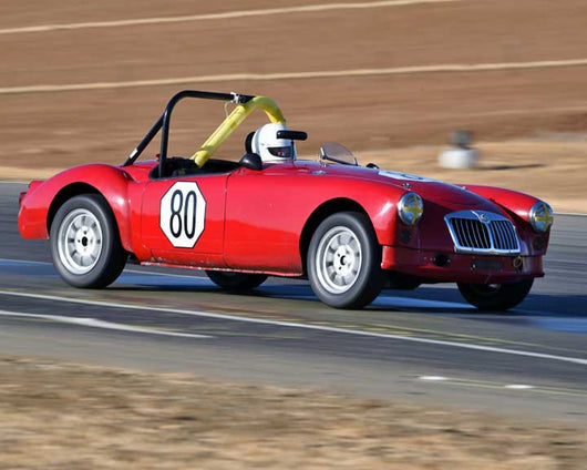 Diane Cox with 1960 MGA in  Group 1 at the 2015 Season Finale at Thunderhill Raceway