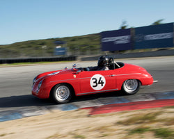Chuck Christensen with 1959 Porsche 356 at the 2016 HMSA LSR Invitational I at Mazda Raceway Laguna Seca