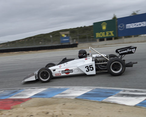 Jonathan Burke driving his Brabham BT40 in Group 2 at the 2015 HMSA Spring Club Event at Mazda Raceway Laguna Seca