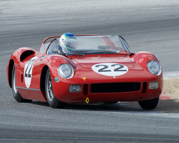 Stephen Hill with 1963 Ferrari 250P at the 2016 HMSA LSR Invitational I at Mazda Raceway Laguna Seca