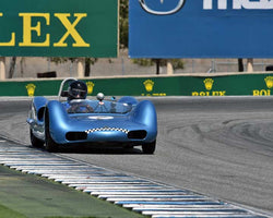 Tom Thinesen with 1961 Elva Mk 6 in Group 3B - 1955-1961 Sports Racing Cars under 2000cc at the 2015-Rolex Monterey Motorsport Reunion, Mazda Raceway Laguna Seca