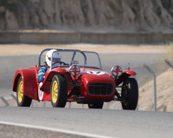 David Brown driving his Lotus 7 in Group 1 at the 2015 HMSA Spring Club Event at Mazda Raceway Laguna Seca