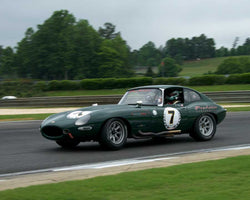 Don Norby with 1962 Jaguar EwithType in Group 2  at the 2015 HMSA Barber Historics
