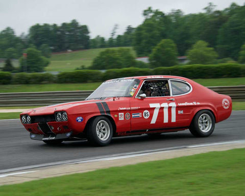 Ira Schoen with 1971 Ford Capri in Group 2  at the 2015 HMSA Barber Historics