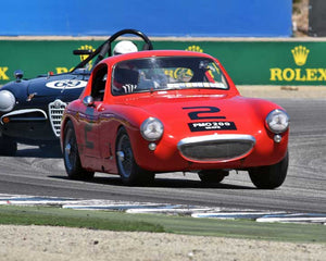 Terry Cowan with 1960 Austin Healey Sebring Sprite Coupe in Group 2A - 1955-1962 GT Cars at the 2015-Rolex Monterey Motorsport Reunion, Mazda Raceway Laguna Seca