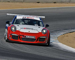 Kasey Kuhlman with 2015 Porsche GT3 Cup in Group 7 - Porsche GT3 Cup at the 2015 Rennsport Reunion V, Mazda Raceway Laguna Seca