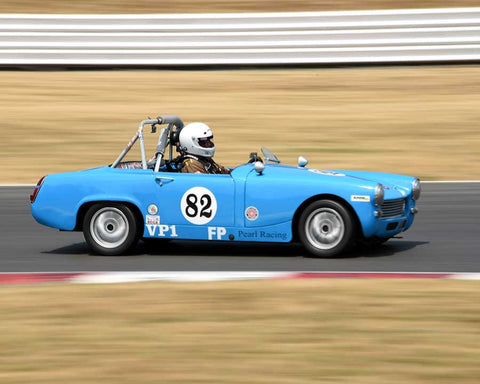 Dave Franks with 1957 Austin Healey Sprite in Group 1 - Small Bore Production Cars at the 2015 Portland Vintage Racing Festival at Portland International Raceway