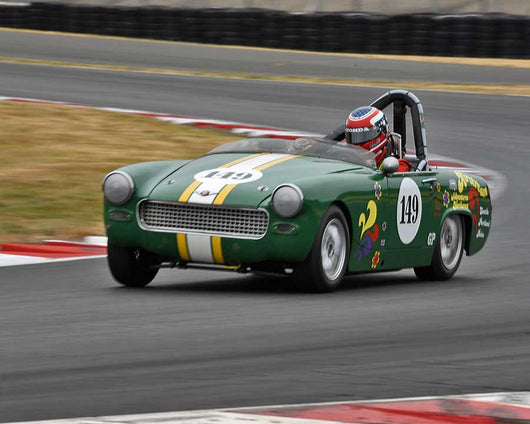 Parker Johnstone with 1967 Austin Healey Sprite in Group 1 - Small Bore Production Cars at the 2015 Portland Vintage Racing Festival at Portland International Raceway