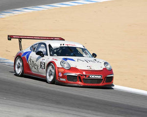 David Baker with 2015 Porsche GT3 Cup in Group 7 - Porsche GT3 Cup at the 2015 Rennsport Reunion V, Mazda Raceway Laguna Seca