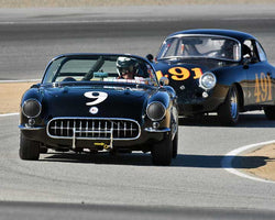 Bob Paterson with 1957 Chevrolet Corvette in Group 2A - 1955-1962 GT Cars at the 2015-Rolex Monterey Motorsport Reunion, Mazda Raceway Laguna Seca