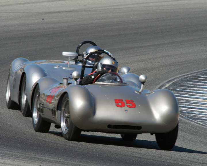 Cameron Healy with 1953 Porsche Cooper Pooper in Group 2 - Gmund Cup at the 2015 Rennsport Reunion V, Mazda Raceway Laguna Seca