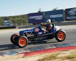 Max Jamiesson with 1935 Ford Sprint Car at the 2016 HMSA LSR Invitational I at Mazda Raceway Laguna Seca