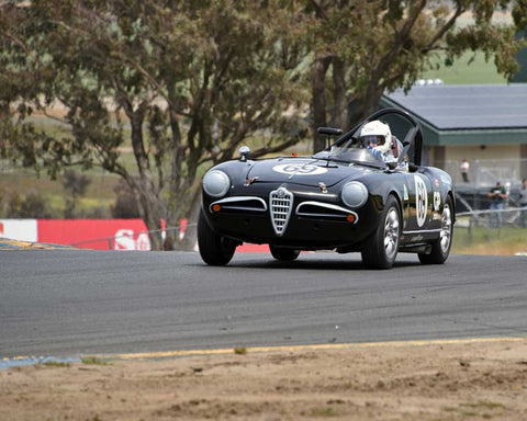Tancredi Damore with 1957 Alfa Romeo Giulietta Spider in Group 3 - 1955-1962 Production and GT Cars at the 2015 Sonoma Historic Motorsports Festival at Sonoma Raceway