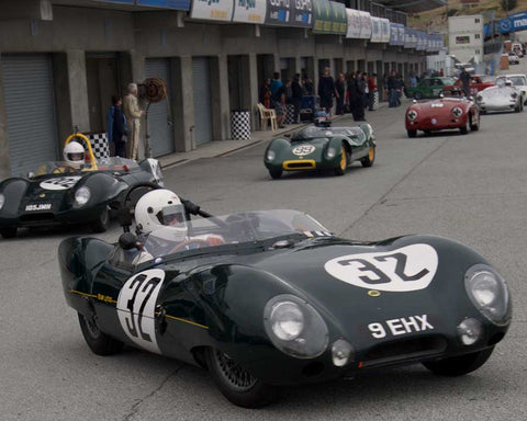 Stan Anderes driving his Lotus Eleven in Group 1 at the 2015 HMSA Spring Club Event at Mazda Raceway Laguna Seca