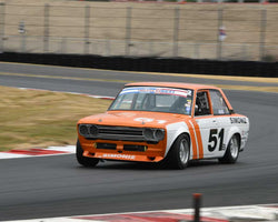 Taz Harvey with 1969 Datsun 510 in Group 8 - Production Sports Cars and Sedan 1973-1985 at the 2015 Portland Vintage Racing Festival at Portland International Raceway