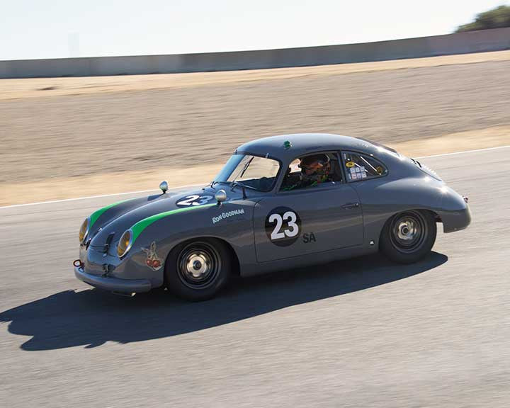 Ron Goodman with 1954 Porsche 356 in Group 2A - 1955-1962 GT Cars at the 2015-Rolex Monterey Motorsport Reunion, Mazda Raceway Laguna Seca