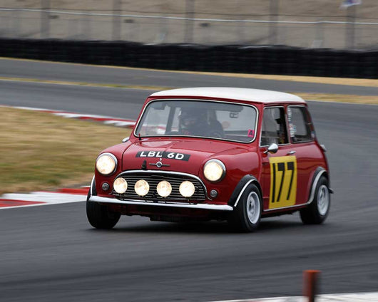 Dennis Racine with 1966 Mini Cooper S in Group 1 - Small Bore Production Cars at the 2015 Portland Vintage Racing Festival at Portland International Raceway