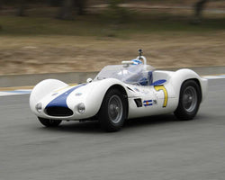 Jonathan Feiber with 1960 Maserati Tipo 61 in Group 1 at the 2015 HMSA LSR Invitational II at Mazda Raceway Laguna Seca
