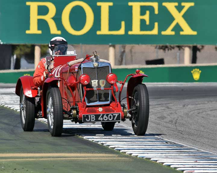 Pete Thelander with 1934 MG NE in Group 1A - Pre 1940 Sports Racing and Touring Cars at the 2015-Rolex Monterey Motorsport Reunion, Mazda Raceway Laguna Seca