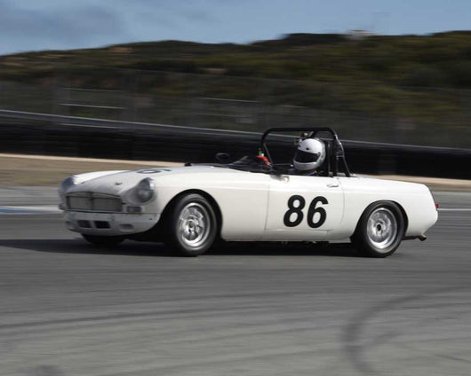Dean Collins with 1963 MGB in Group 1 at the 2015 HMSA LSR Invitational II at Mazda Raceway Laguna Seca
