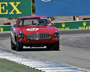 Rick Hayden with 1961 Volvo P1800 in Group 2A - 1955-1962 GT Cars at the 2015-Rolex Monterey Motorsport Reunion, Mazda Raceway Laguna Seca