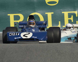 John Delane with 1971 Tyrrell 002 in Group 8A - 1967-1984 Formula One Cars at the 2015-Rolex Monterey Motorsport Reunion, Mazda Raceway Laguna Seca