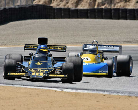 Andrew Beaumont with 1974 Lotus 76 in Group 8A - 1967-1984 Formula One Cars at the 2015-Rolex Monterey Motorsport Reunion, Mazda Raceway Laguna Seca