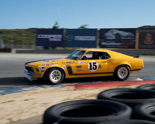 William E. Connor with 1970 Ford Boss Mustang at the 2016 HMSA LSR Invitational I at Mazda Raceway Laguna Seca